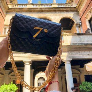 Luxury black caviar leather bag