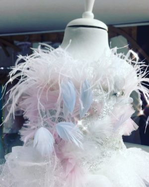 Ostrich feather Luxury kids couture unicorn  dress