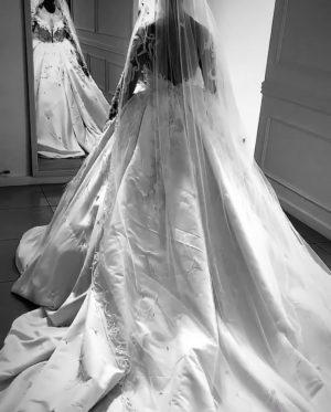 Intricately beaded wedding dress