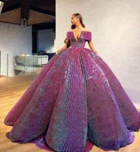 Sequin purple dazzling ball gown