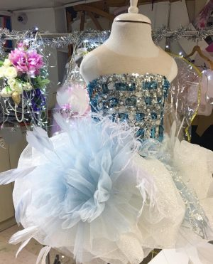Ultra Extravagant Embellished blue kids couture dress