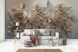 Floral Textile tearproof removable wallpaper
