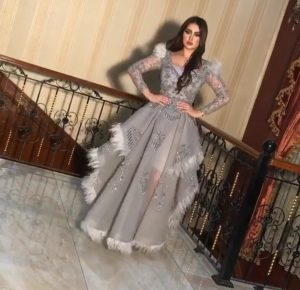 Grey embellished ostrich feather custom made dress