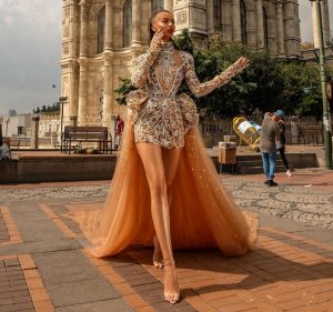 Extreme luxury embellished gown with train