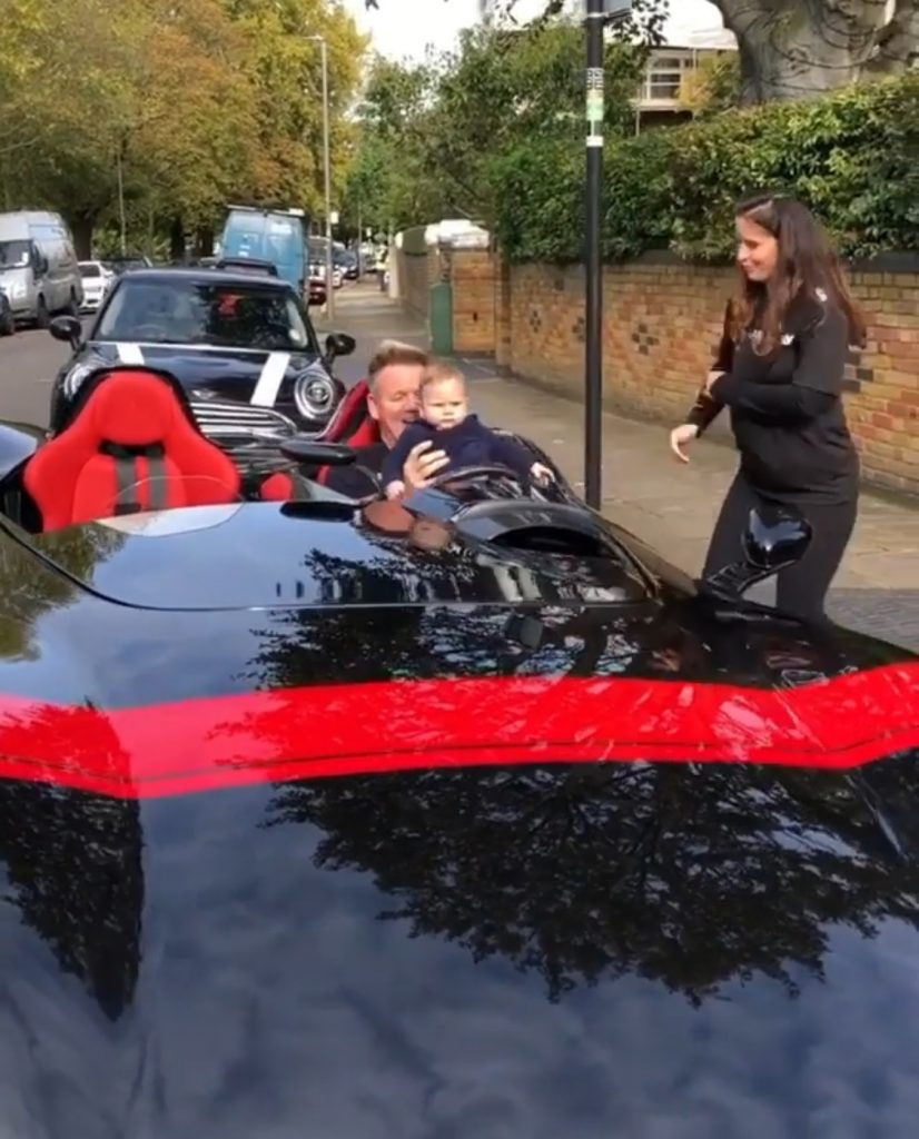 Gordon Ramsey hangs out with Son in his brand new super sleek Ferrari Monza SP