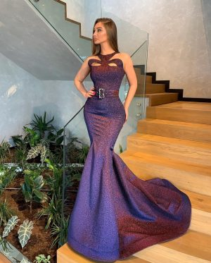 Purple embellished long sleeveless dress