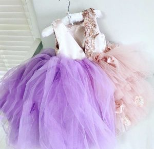 Luxury fashion pink and purple  embellished kids couture tulle dress