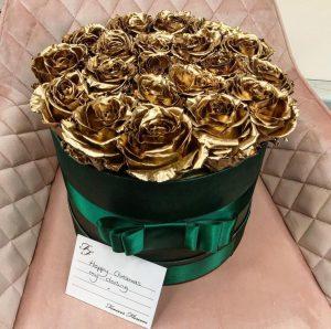 24 K Gold Preserved rose in green Christmas velvet gift box