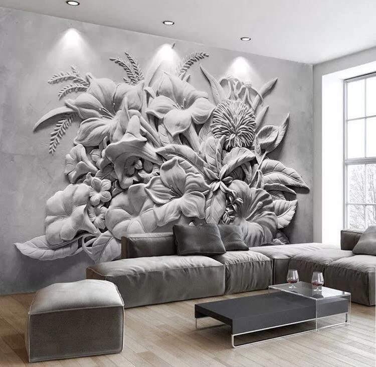 Custom Order, Black and white floral Vinyl Wallpaper Exclusive Design