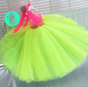 Lemon and pink barbie kids couture dress