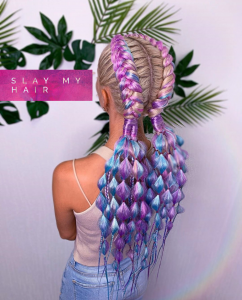Ultra luxury premium synthetic custom braided unicorn full lace wig