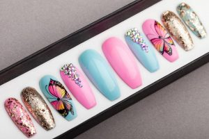 Summer Butterfly with glitter and rhinestones Press on Nails