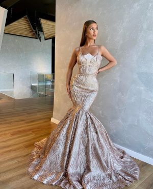 Opulent rose gold sparkly diamond neckline mermaid dress
