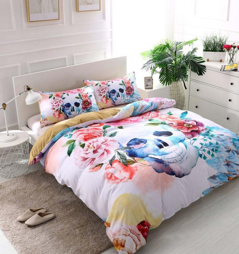 Luxurious 3D White Flower Skull bedding