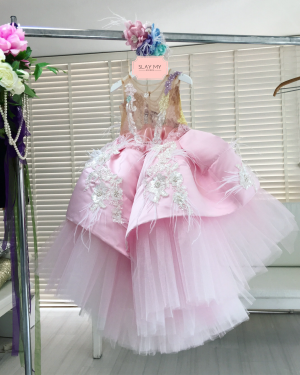 Pink candy ostrich feather embellished  kids couture dress