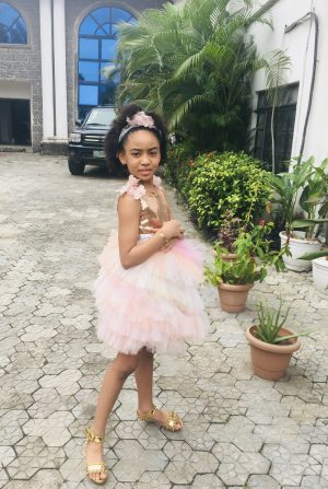 Custom Candy pink combo floral gold sequin kids couture dress