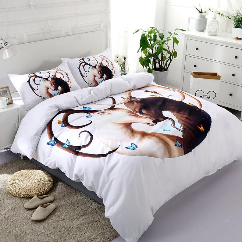 Luxurious 3D White Love Antler Deer Elk bedding