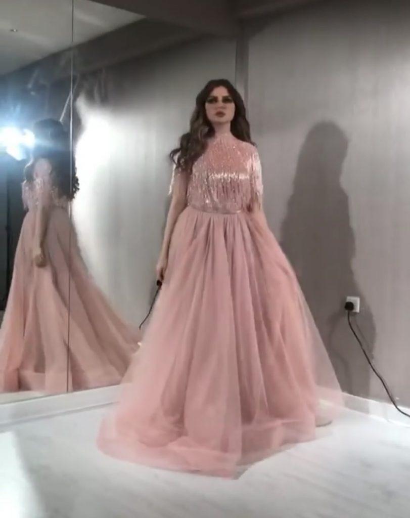 Embellished fringe rose gold couture dress