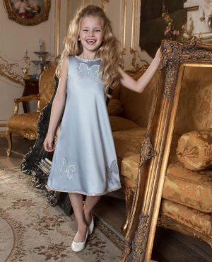 Silk blue kids couture dress