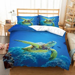 Luxurious 3D Sea world, Sea turtle Bedding