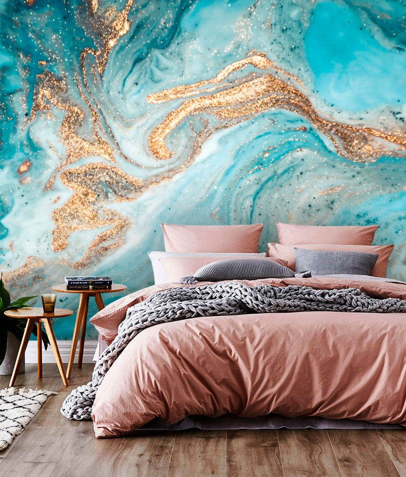 Ink Gold with Blue design Art Vinyl Wallpaper Exclusive Design