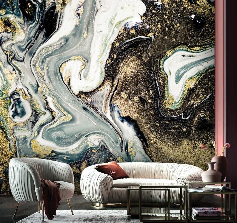 Gray and Gold Marbling Art Vinyl Wallpaper Exclusive Design