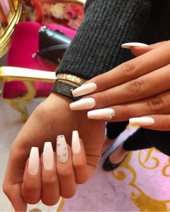 White Glam Studded Crystal with Rhinestones Press on Nails