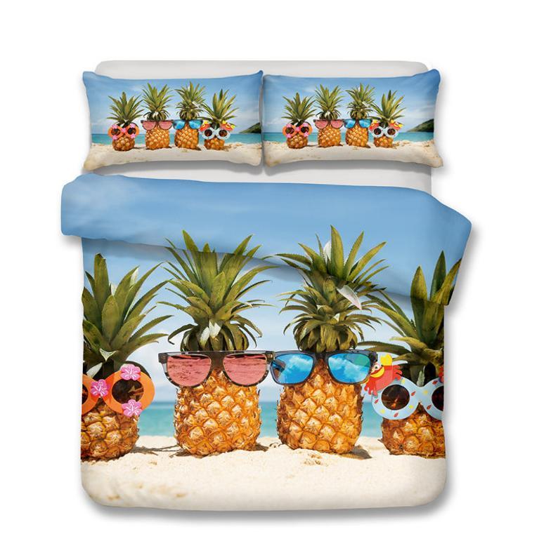 Luxurious 3d Summer Beach Pineapple, Pineapple Bedding Set