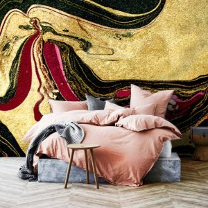 Gold, Black and Red Marbling Art  Vinyl Wallpaper Exclusive Design