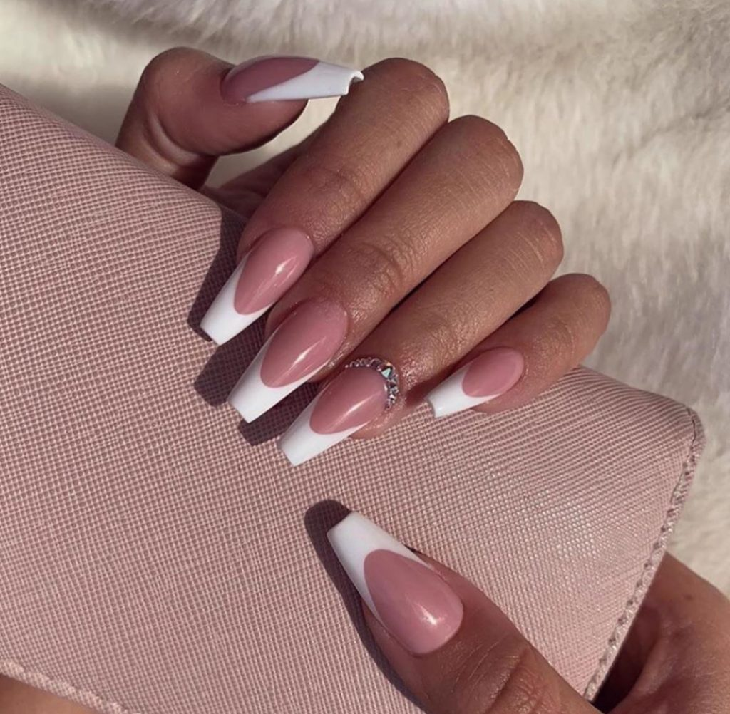 French Manicure with Rhinestones Press on Nails