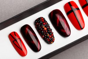 Red and black with Rhinestones Press on Nails
