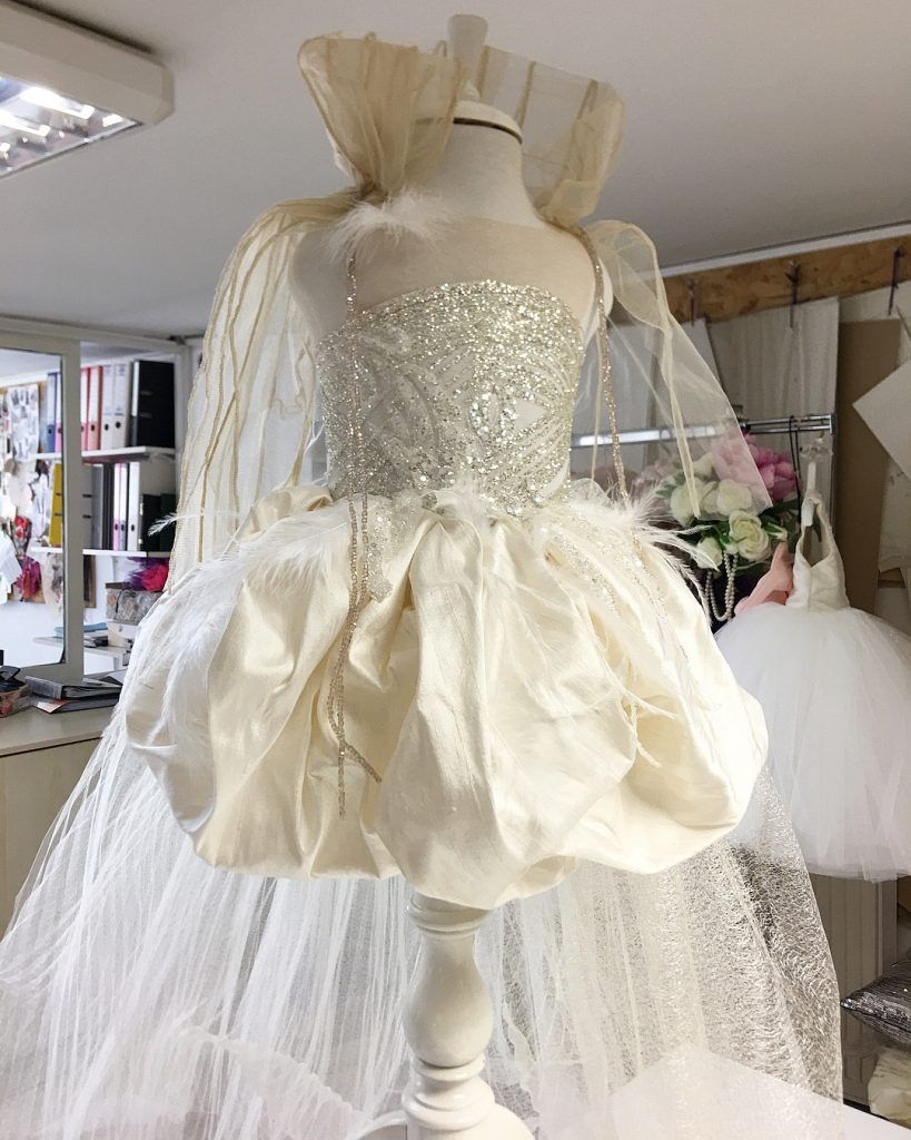 Ultra opulent princess kids couture champagne dress