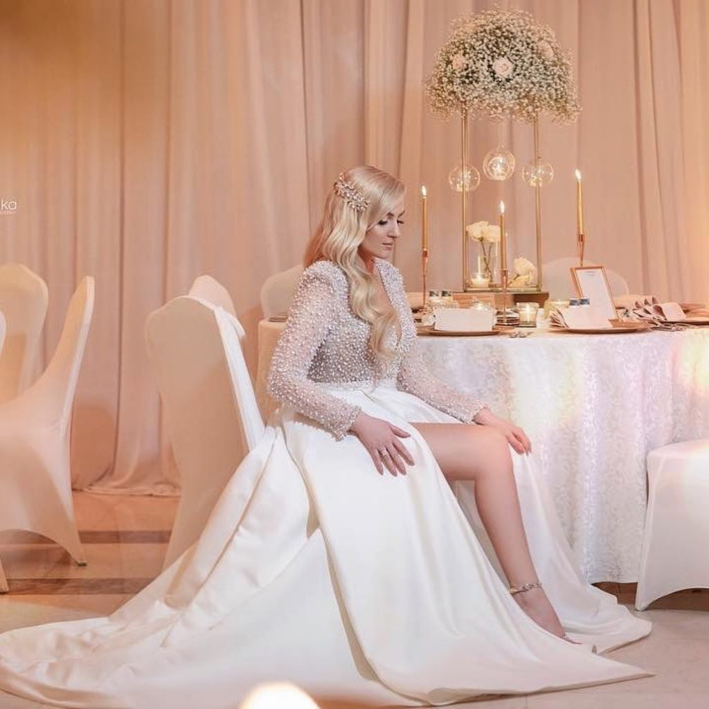 Ultra luxe pearl embellished wedding dress