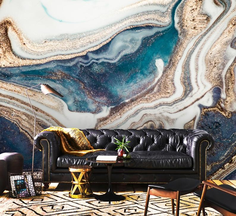 Gold and Blue Marbling Vinyl Wallpaper Exclusive Design