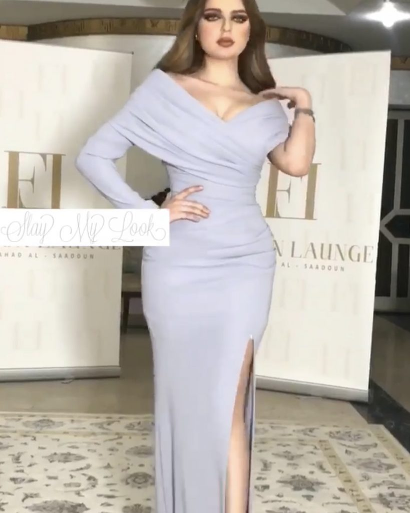 Classy Lavender off shoulder dress with thigh high daring slit