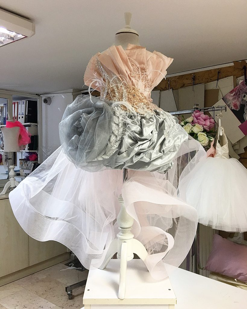 Custom Ostrich Feather peach and grey kids couture dress
