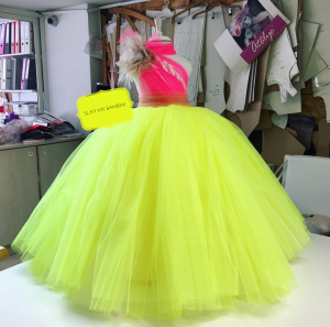 Neon green and pink custom Kids couture dress