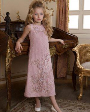 Long Rose Gold  stylish kids couture embellished dress