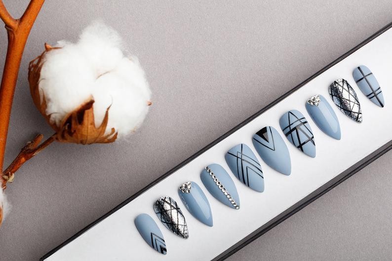 Blue Gothic Geometry with rhinestones Luxury Press on Nails