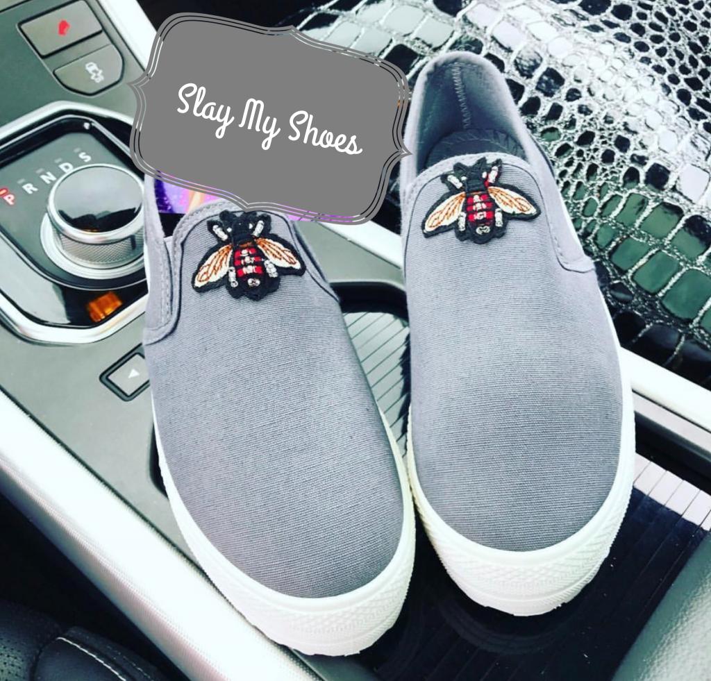 Grey custom bug Loafers