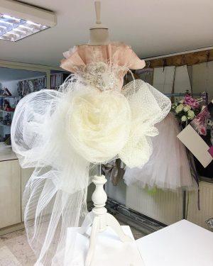 Cream and rose gold kids couture lavish dress
