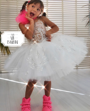 Custom kids couture white embellished dress