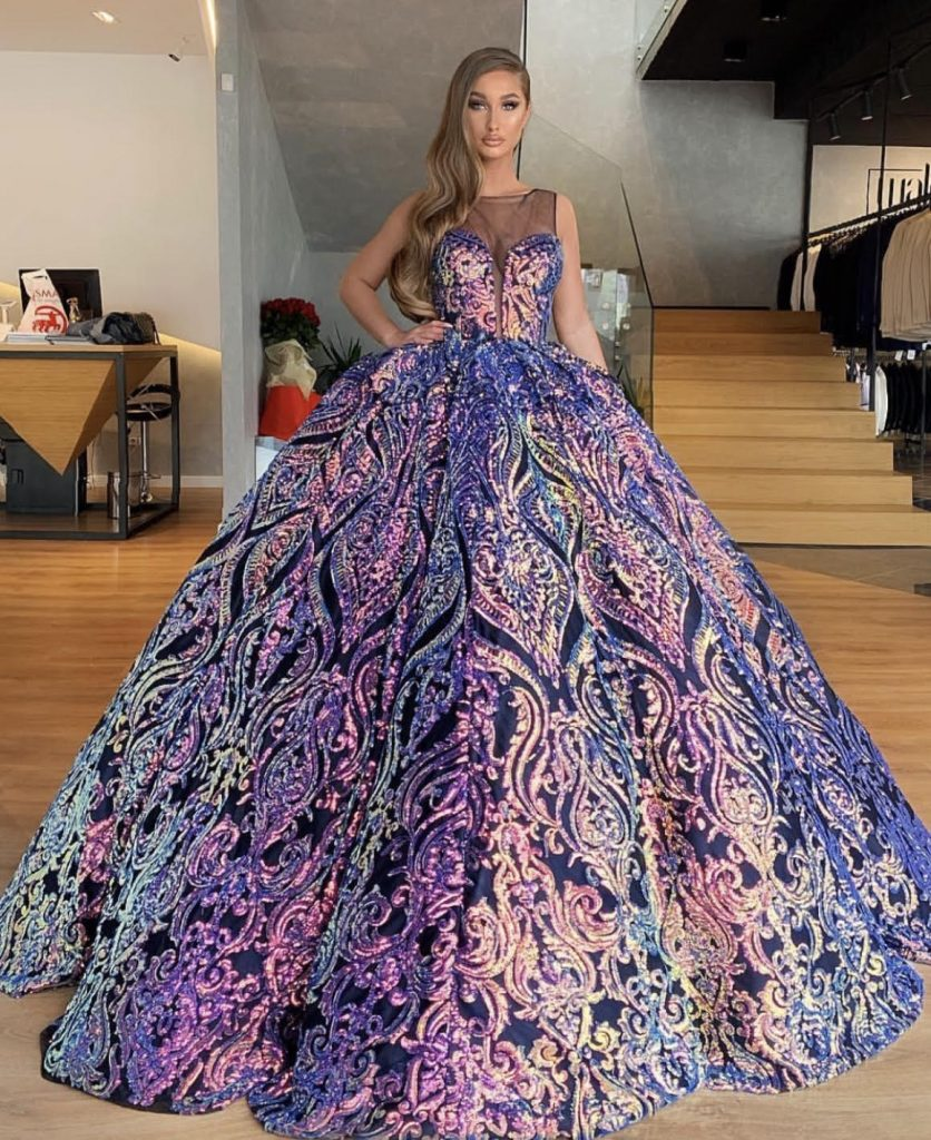 High end Glow glamorous brocade couture ball gown | Slaylebrity