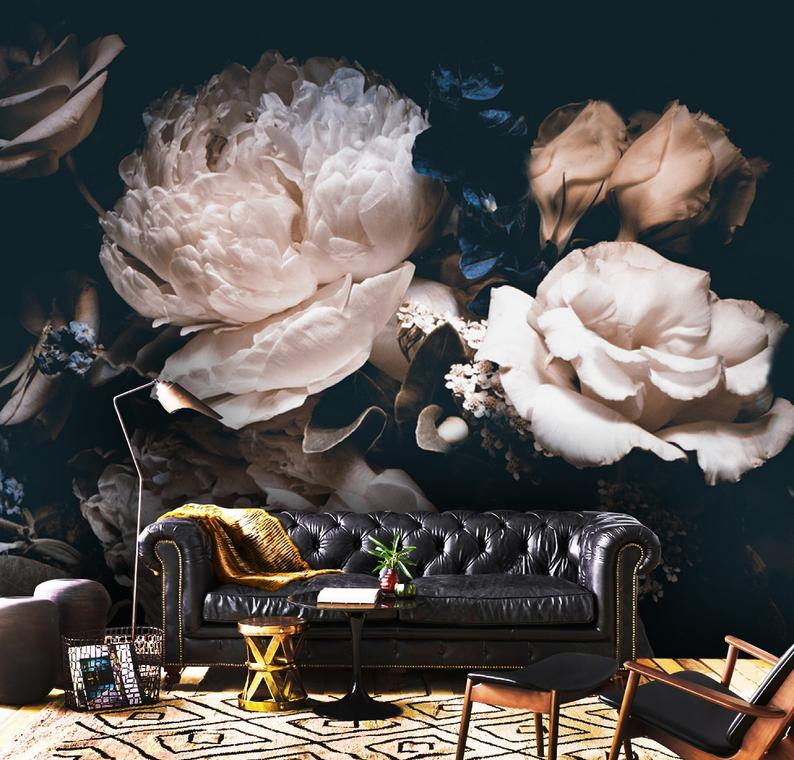 3D Custom Luxury, Orchid,Peony and Roses Vinyl Wallpaper Exclusive Design
