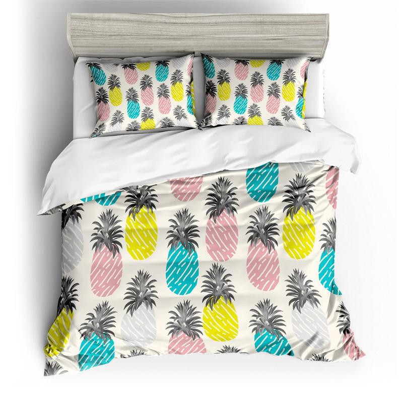 Luxurious 3d White Colorful Pineapple, Pineapple Bedding Set