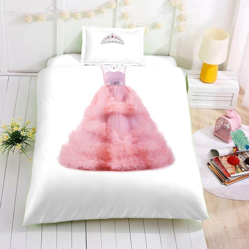 Luxurious 3D Pink princess dress Bedding
