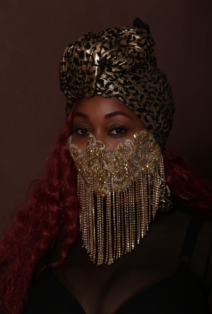 Embellished face mask with Turban