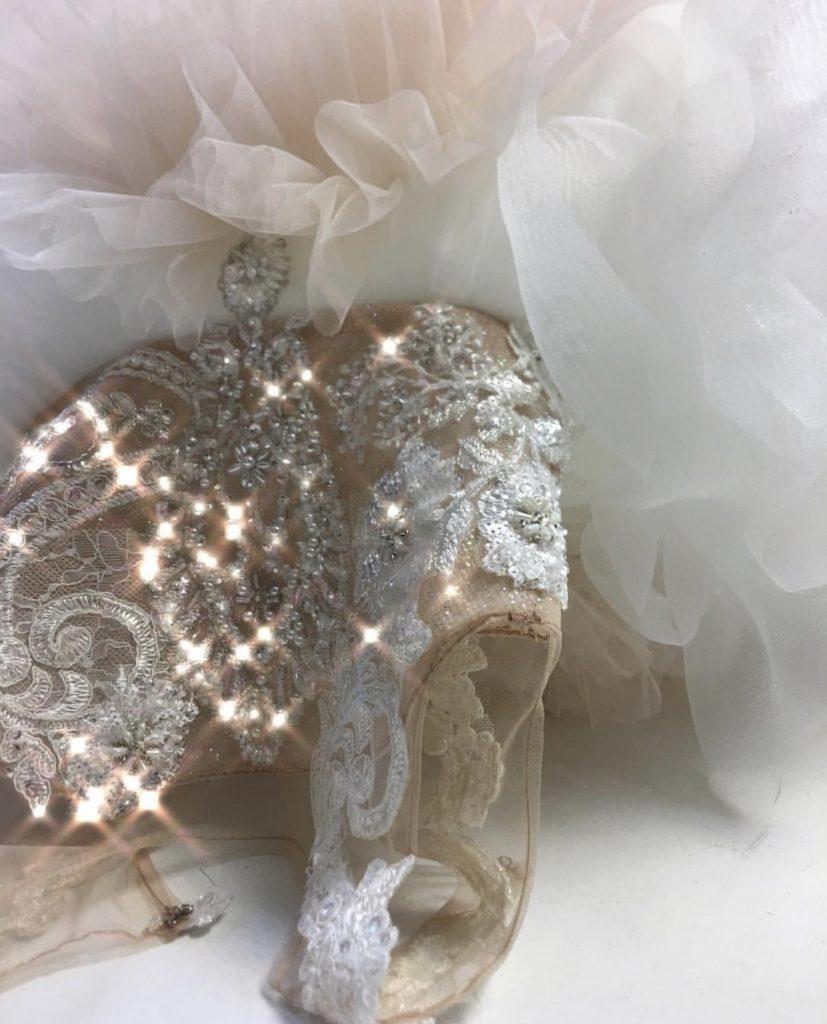 Opulent kids couture white crystal embellished dress