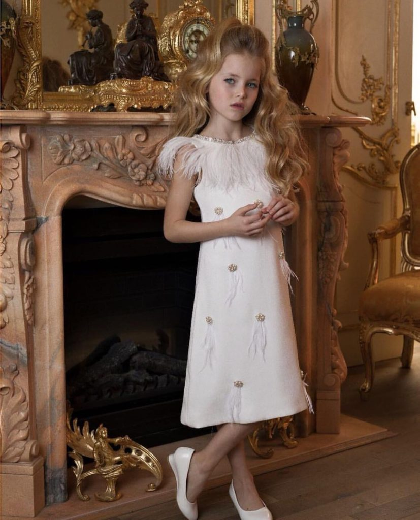 Gorgeous white ostrich feather kids couture midi dress