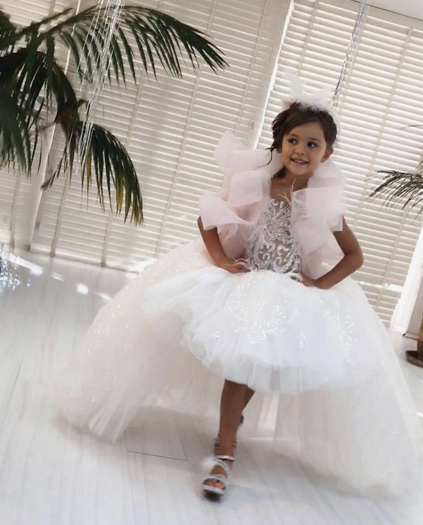 Pink poofy sparkly kids couture confection dress